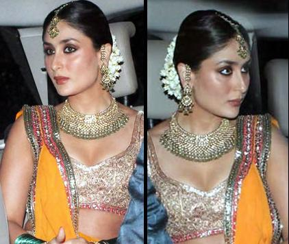 Kareenas Outfit She Was Looking Absolutely Stunning In The Bright Orangish Golden Lehenga Designed By Manish Malhotra A Household Name For Bollywood