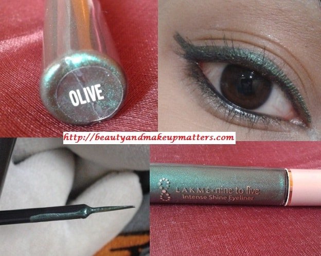 Lakme-Nine-To-Five-Intense-Shine-Liner-Olive-Look
