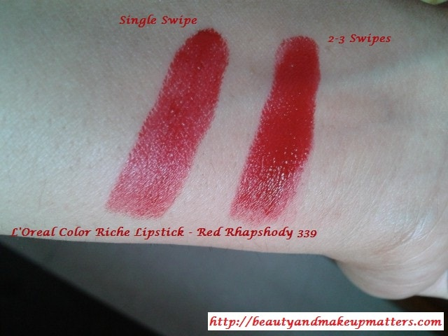 Loreal-Color-Riche-Lipstick-Red-Rhapshody-Swatches