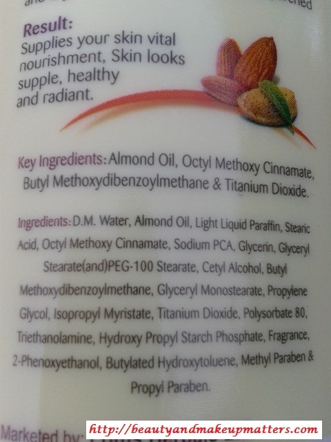 Lotus-Herbals-Almond-Nourish-Body-Lotion-SPF-20-Ingredients