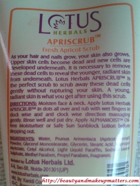 Lotus-Herbals-ApriScrub-Fresh-Apricot-Scrub-Claims