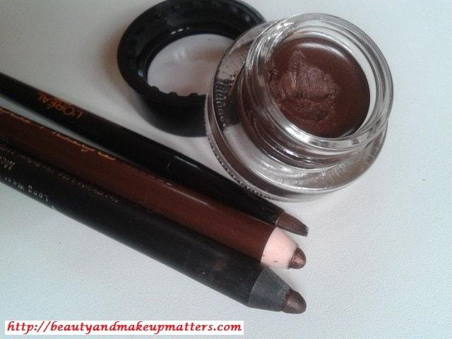 Shimmery-Brown-Eye-liners-L'Oreal-Gel-Liner-Faces-Eye-Pencil-Bourjois-Eye-Pencil