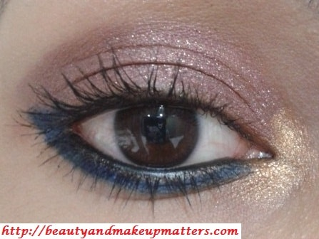 Copper-Pink-Eyes-with-Blue-Eye-Liner-Eye-Makeup-Tutorial-EOTD