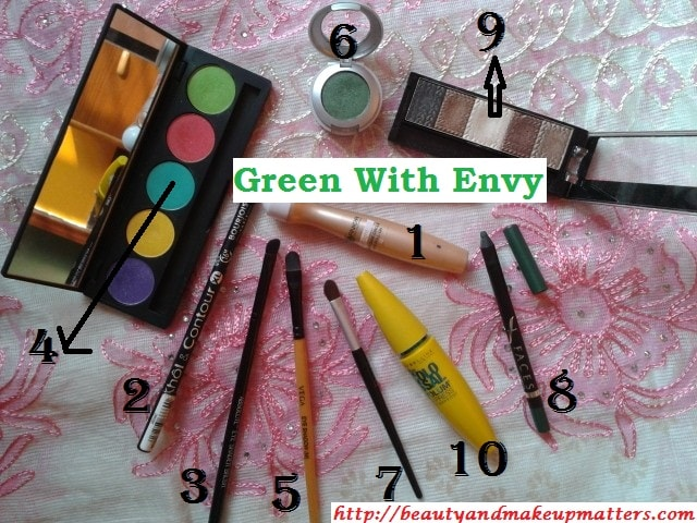Eye-Makeup-Tutorial-Green-with-Envy-Eyes-Products-Used