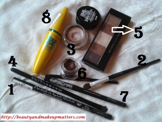 Products-Used-for-Metallic-Shimmery-Bronze-Eyes-With-Maybelline-Bad-To-Bronze