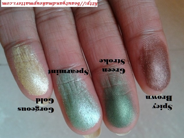 Colorbar-Eye-Shadow-Swatch-in-SpicyBrown-GreenStroke-Spearmint-GorgeousGold