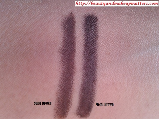 Faces-Long-Wear-Eye-Pencil-MetalBrown-&-SolidBrown-Comparison-Swatch