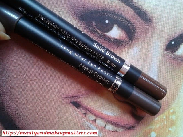 Faces-Long-Wear-Eye-Pencils-SolidBrown-and-MetalBrown-Comparison