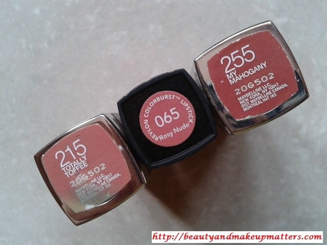 Revlon-RosyNude-Maybelline-ColorSensational-MyMahogany-and-TotallyToffee