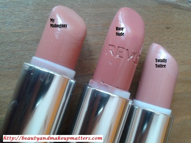Revlon-RosyNude-Maybelline-MyMahogany-And-Totally-Toffee-Lipstick