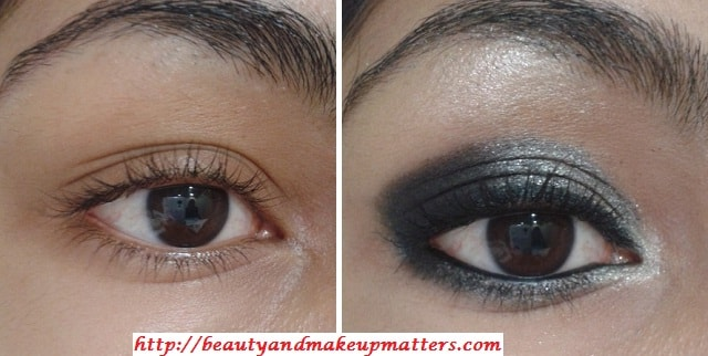 EyeMakeup-Shimmery-Grey&Black-Eyes-Before-After