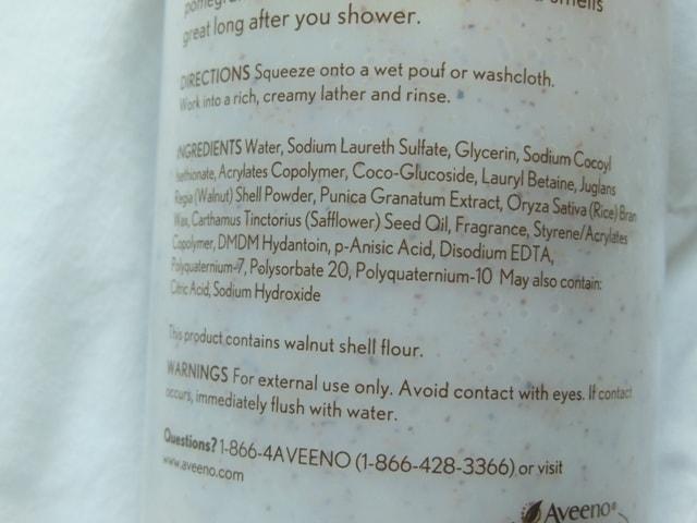 Aveeno Positively Nourishing Smoothing Body Wash Ingredients