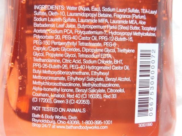 Bath & Body Works Japanese Cherry Blossom Shower Gel Ingredients