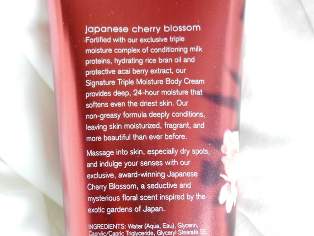 Bath & Body Works Triple Moisture Body Cream-Japanese Cherry Blossom Claims
