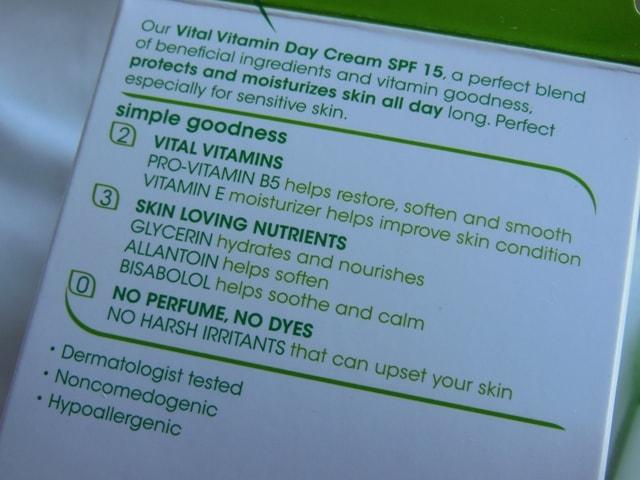 Simple Vital Vitamin Day Cream SPF 15 Claims