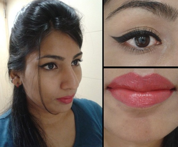 What Am I Wearing Today -Winged Eye Liner and Pinkish Red Lips