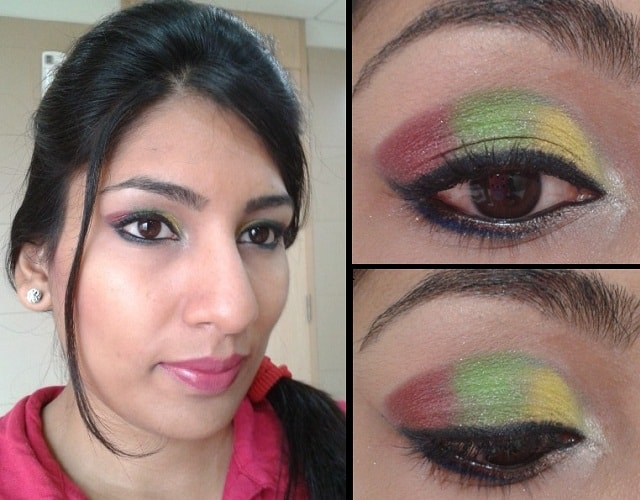 What Am I Wearing Today-Yellow, Green and Pink eye Makeup