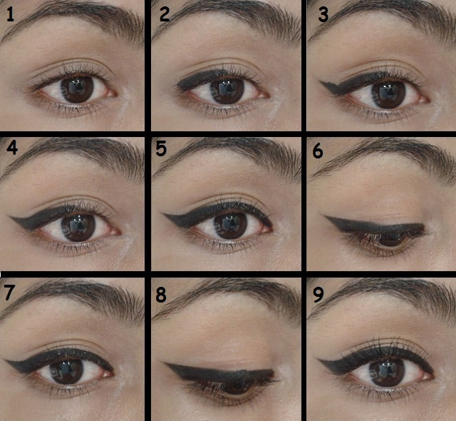 Winged Eye Liner Tutorial Steps