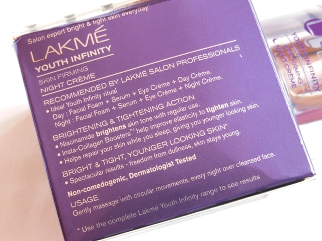 Lakme Youth Infinity Skin Firming Night Cream Claims