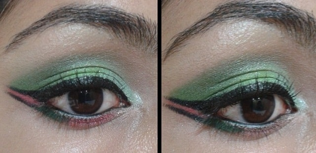 Today's Look - Green and Pink Eyes with dual winged Liner