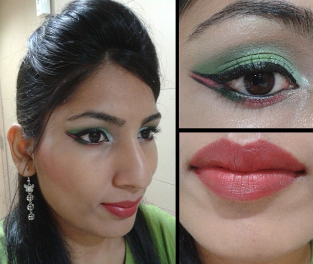 What Am I Wearing Today- Green and Pink Eyes with dual winged Liner