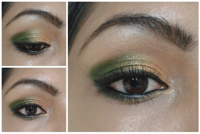 Gold and Green Karvachauth Eye Makeup