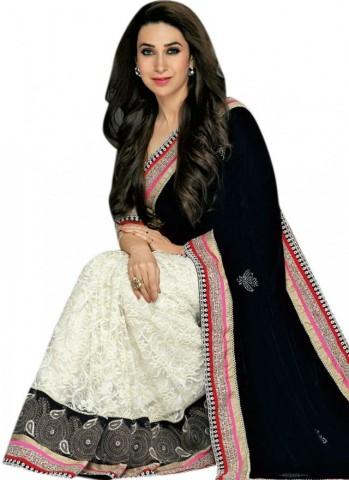 Karishma Kapoor in Black and White Saree