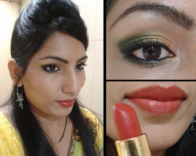 What Am I Wearing Today- Gold and Green Eyes with Bold Red Lips