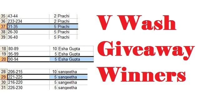 V Wash Giveaway Winner Selection