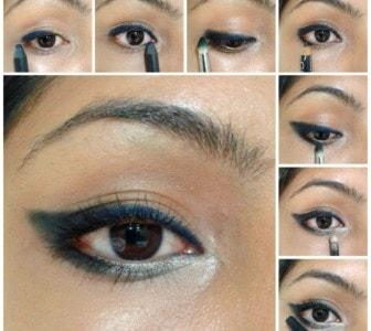Eye Makeup Tutorial -Winged Style Black Blue Eyes