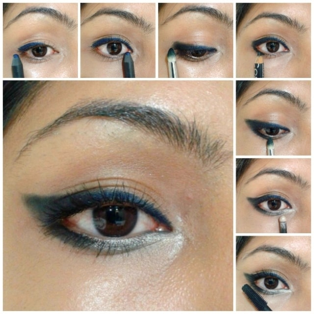 Eye Makeup Tutorial -Winged Style Black Blue Eyes