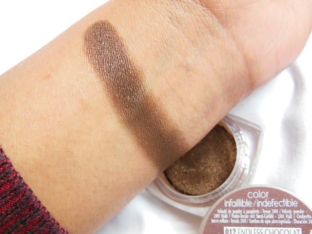 L'Oreal Infallible Eye Shadow Endless Chocolate Swatch'