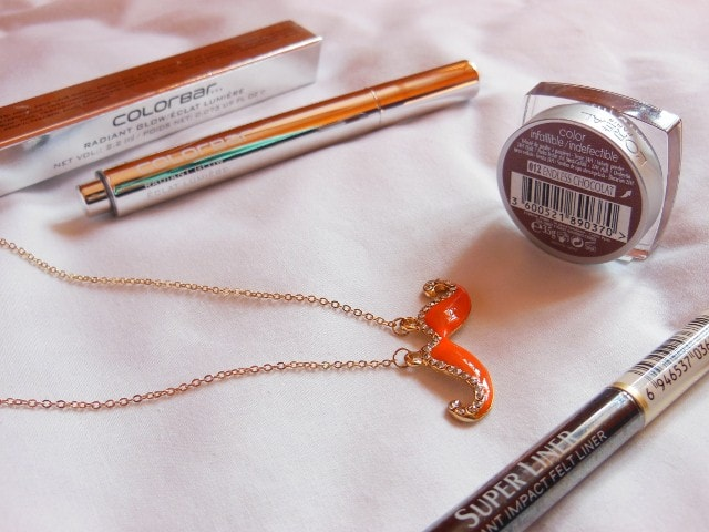 Shopping - L'Oreal Paris Eye Shadow, Eye Liner, Colorbar Illuminator, Moustache Necklace,