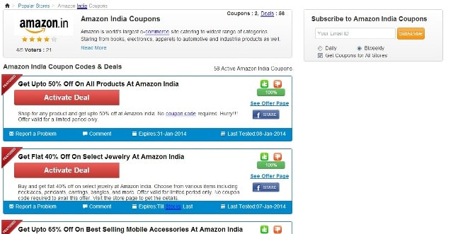CouponRani Website - Amazon Coupon