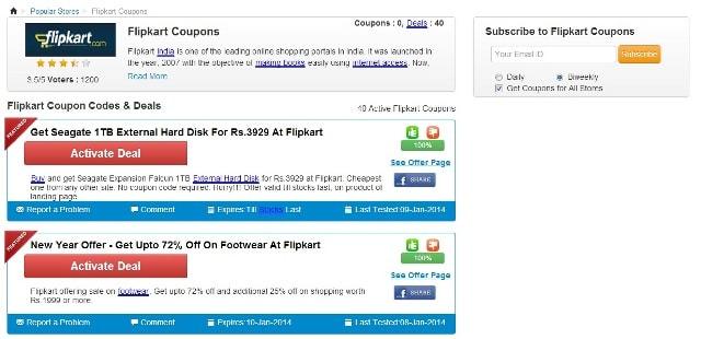 CouponRani Website - Flipkart Coupon