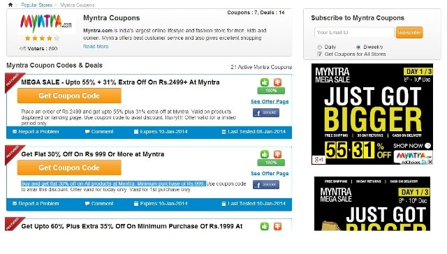 CouponRani Website - Myntra Coupon