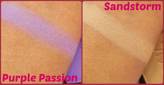 VIVO Eye Shadow Purple Passion and SandStorm Swatch