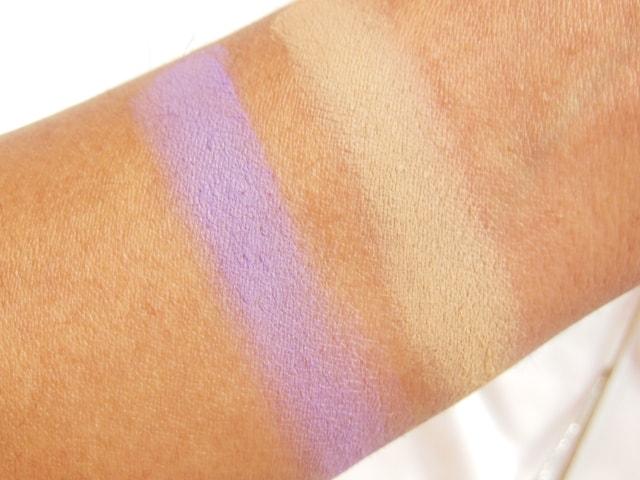 VIVO Matte Eye Shadow Purple Passion and SandStorm Swatch 2