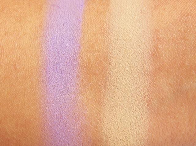 VIVO Matte Eye Shadow Purple Passion and SandStorm Swatch