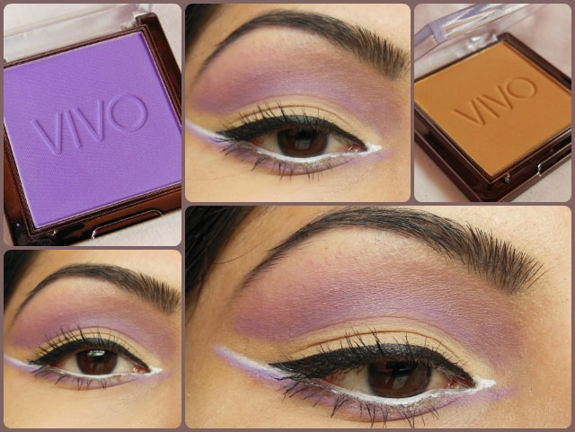 VIVO Matte Eye shadows in Purple Passion and Sandstorm EOTD