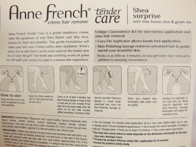 Anne French Creme Hair Remover Kit Directions