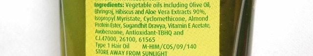 Dabur Vatika Enriched Olive Hair Oil Ingredients