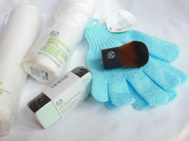 February Makeup Haul- The Body Shop Kabuki Brush, Bath Gloves, Nail Buffer, Cotton Rounds