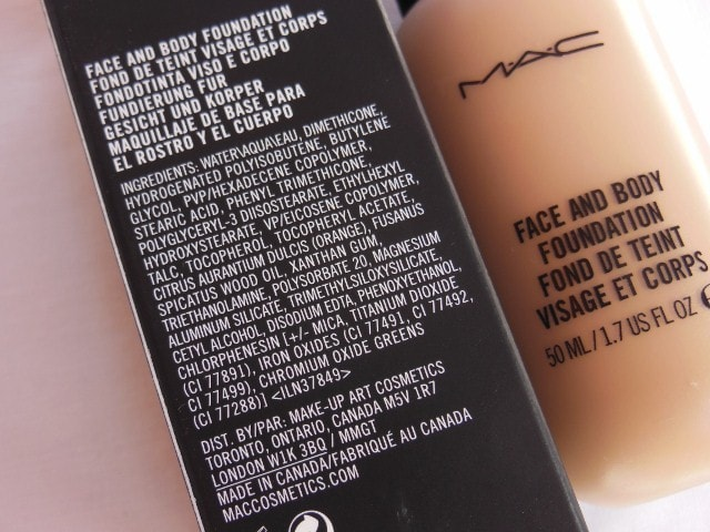 MAC Face and Body Foundation C4 Ingredients