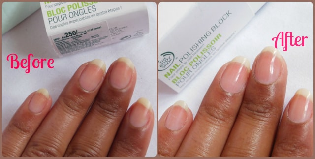 The Body Shop Nail Polishing Block Before And After