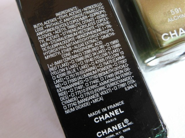 CHANEL Le Vernis Nail Color Alchimie Ingredients