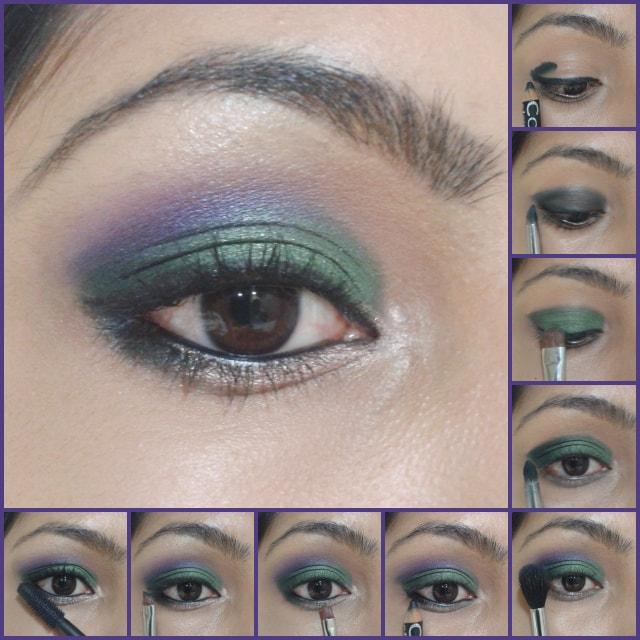 Eye Makeup Tutorial -Green and Purple Eye Makeup
