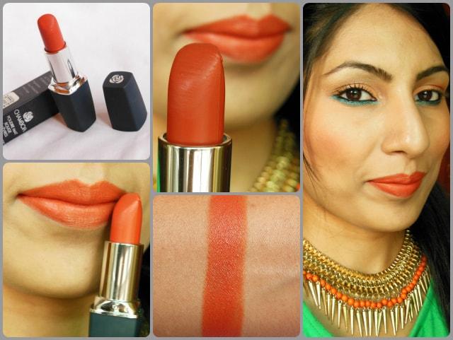 Chambor Powder Matte Lipstick Orange Flambe Lip Swatch