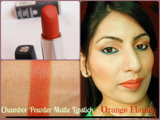 Chambor Powder Matte Lipstick in Orange Flambe Look