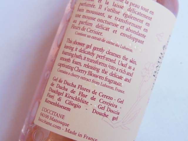 L'Occitane Cherry Blossom Shower Gel Claims